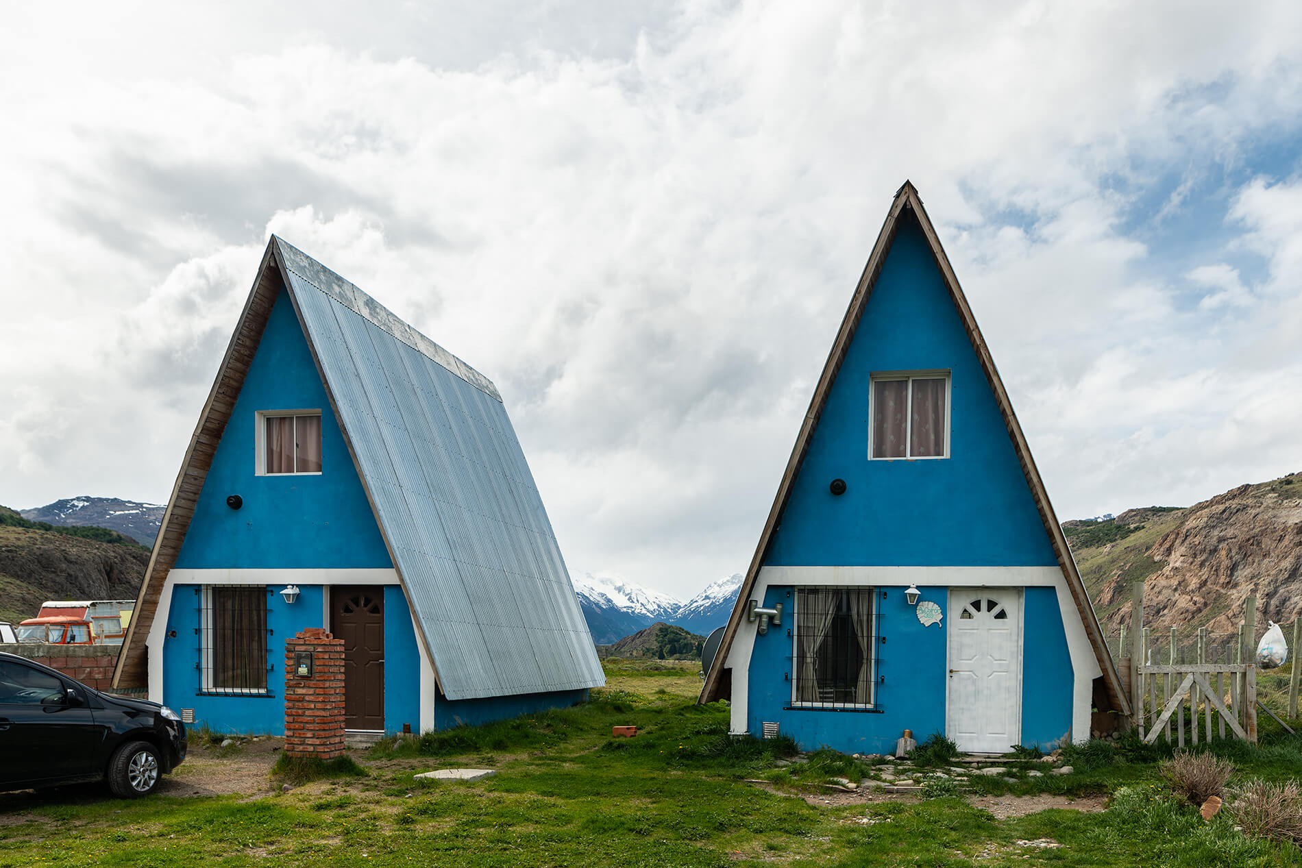 Typical Patagonian A-frame homes. These homes are designed to withstand the punishing wind and inclement weather so characteristic of Patagonia.